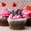 Royalty-Free Stock Photo: Image of strawberry cupcakes with heart shape