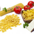 Noodles cheese and tomato sauce arrangement — Stock Photo