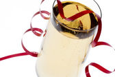Champagne glass with a ribbon on it — Stock Photo