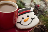 Coffee and snowman cookie — Foto Stock