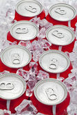 Eight pop cans — Stock Photo