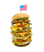 Enormous Burger with American Flag — Stock Photo