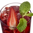 Strawberry drink with strawberry slice and mint leaf — Foto de stock #18400843