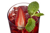 Strawberry drink with strawberry slice and mint leaf — ストック写真