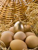 Golden egg on the brown egg — Stock Photo