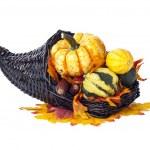 Seasonal dark wicker cornucopia — Stock Photo #18737623