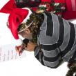 African american man writing letter to santa — Stock Photo