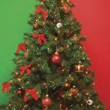 Christmas tree with lights and decorations - Stok fotoğraf