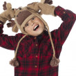 Boy wearing moose hat and gloves with head cocked — Stock Photo #18738743
