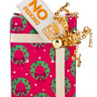 Image of a gift box with placard — Stock Photo #18739375