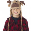 Portrait of a cute boy wearing reindeer hat - Lizenzfreies Foto