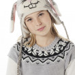 Portrait of a teenage girl in rabbit costume and head cocked — Stock Photo