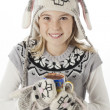 Portrait of a teenage girl with coffee cup and rabbit costume — Stock Photo