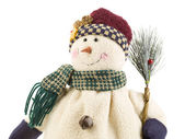 Snowman with the broom — Stock Photo