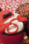 Christmas chocolate cupcake — Stock Photo