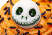 Close up of skull design on cupcake — Foto Stock