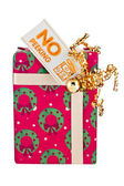 Image of a gift box with placard — Stock Photo