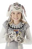 Retrato de um adolescente com traje de café xícara e coelho — Foto Stock