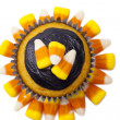Top view of cupcake with chocolate cream and candy corn - Lizenzfreies Foto