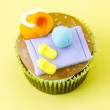 Top view of cupcake with decorative miniature - Lizenzfreies Foto