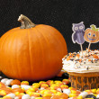 Yummy halloween cupcake and pumpkin - Stock Photo