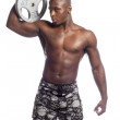 African american wrestler holding weight disc — Stock Photo #18744455