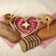 Bread set with heart — Stock Photo #18747621