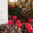 Coffee beans and christmas decoration — Stock Photo