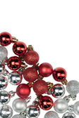 Red and silver baubles — Stock Photo
