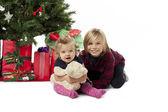 Vista de uma menina bonita com um ursinho de pelúcia e uma árvore de Natal — Fotografia Stock