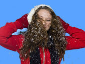 Woman with snow in her hair — Stock Photo