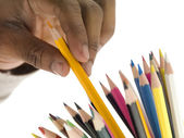 Coloring pen on a hand — Stock Photo
