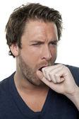 Un hombre que tenía una tos — Foto de Stock