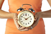 Alarm clock in human hand — Stock Photo