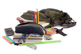 Back pack with school supplies — Stock Photo