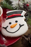 Close up of snowman cookie — Stock Photo
