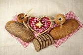 Bread set with heart — Stock Photo