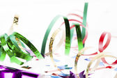 Close up shot of shiny colorful streamers — Stock Photo