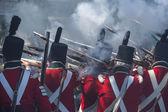 Canada and usa reenacting war — Stock Photo