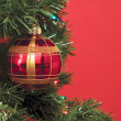 Christmas balls over the christmas tree — Stock Photo