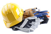 Hard hat and gloves — Stock Photo