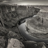 High angle view of cliff and river of horseshoe bend — Stock Photo