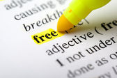 Highlighting the word free — Stock Photo