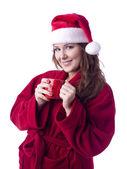 Una mujer santa alegre bebiendo café — Foto de Stock