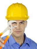 Podnikatel s žlutá čepice — Stock fotografie