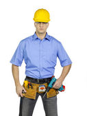 Construction worker on white — Stock Photo