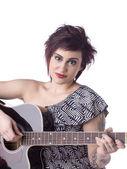 Guitarrista feminina — Foto Stock