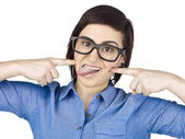 A woman making funny face — Stock Photo