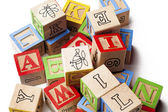Heap of building blocks — Stock Photo