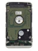 Warranty tag on portable hard disk — Stockfoto